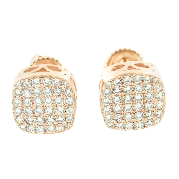 3D Smooth Box Rose Micro Pave Bling Earrings