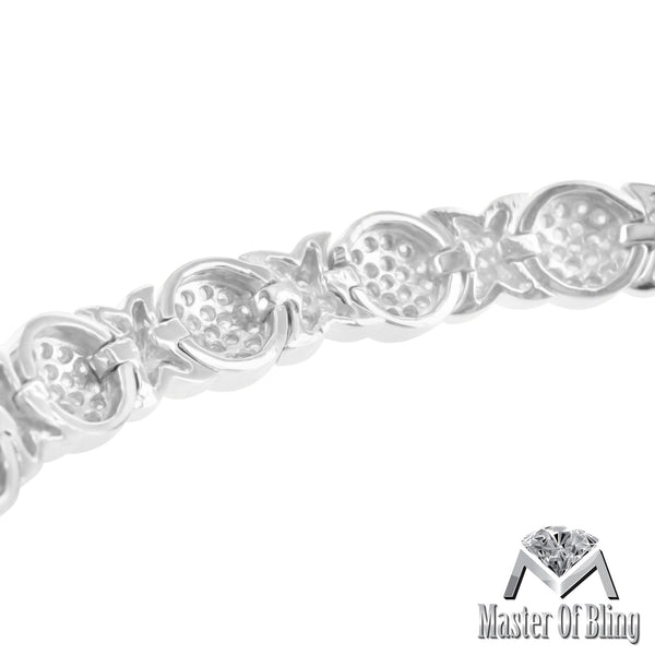 Womens Round Cut Lab Diamond White Gold Finish 925 Silver XOXO Bracelet