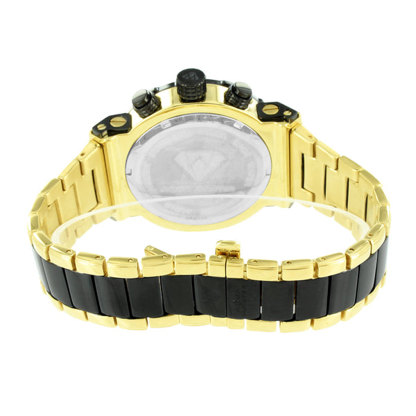 Gold Finish Mens Watch With Black PVD Screw Design