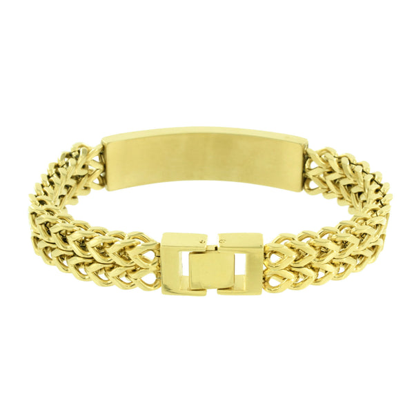 2 Row Franco Bracelet ID Style Stainless Steel Gold Tone