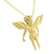 Angel Pendant Necklace Set Stainless Steel Simulated Diamonds Gold Finish Chain