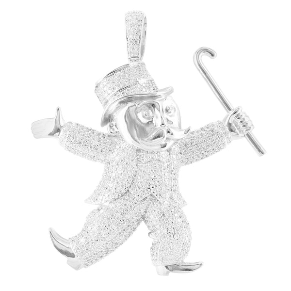 Monopoly Man Pendan tWhite Gold Finish Simulated Diamond