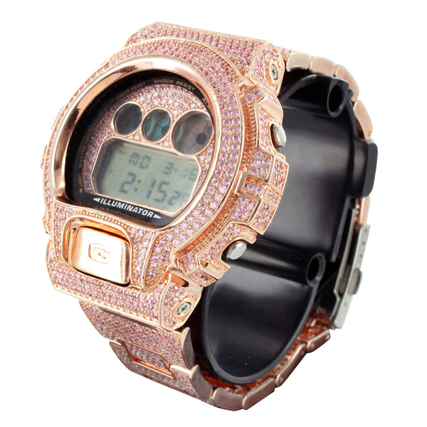 Pink Simulated Lab Diamond G Shock Dw6900 Rose Gold Finish