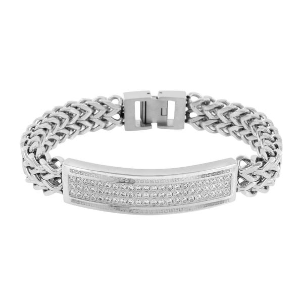 Franco Link ID Bracelet White Gold Over Stainless Steel