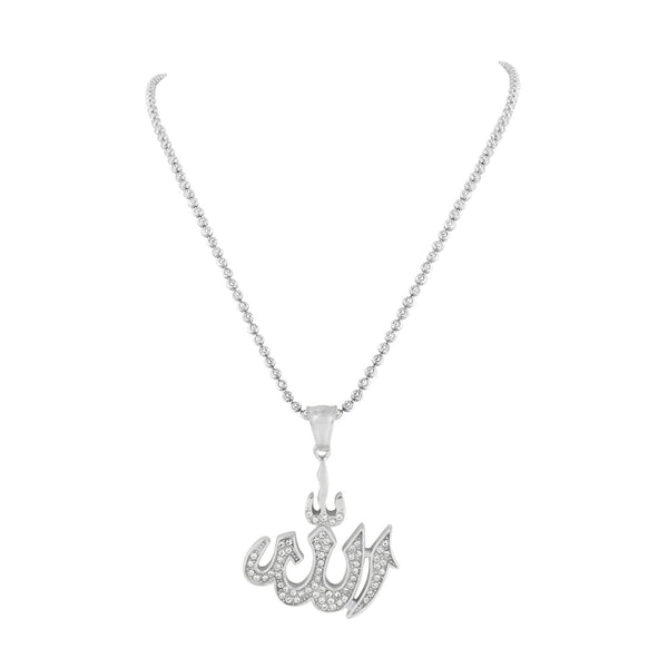 White Allah Pendant Stainless Steel Charm Necklace Simulated Diamonds Solid Back