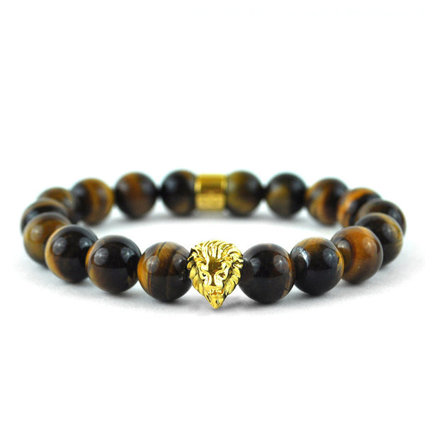 Tiger Eye Gemstone Beaded Bracelet 18K Gold Layered Lion Shamballa Style