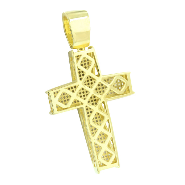 Men Cross Pendant 14K Yellow Gold Finish