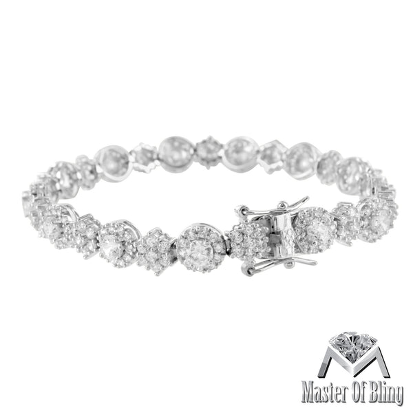 White Gold Finish Cluster Link Simulated Diamond 925 Silver Ladies Bracelet