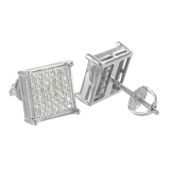 Earrings White Finish Square Ladies Lab Diamond