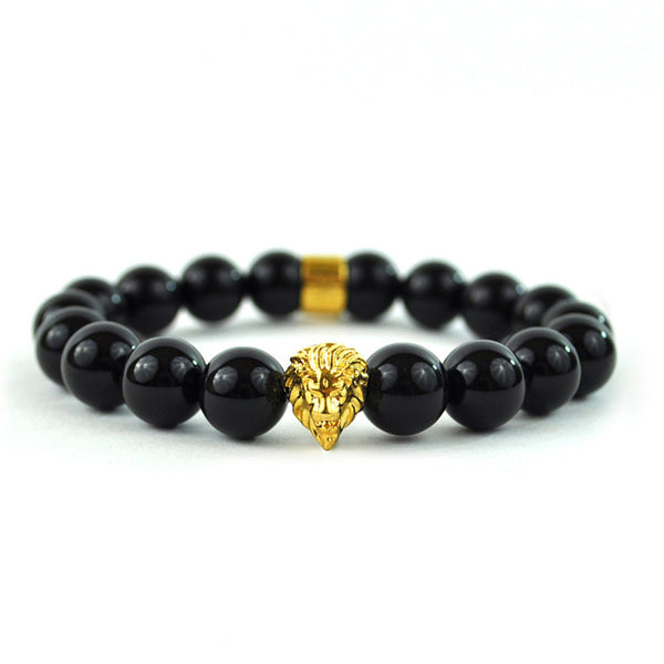 Glossy Black Beaded Lion Bracelet 18K Gold Finish Shamballa Style