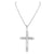 14k White Gold Finish Jesus Hanging Crucifix Pendant Stainless Steel Rope Chain