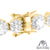 925 Sterling Silver 14K Gold Tone Cluster Lab Diamond Solitaire Ladies Bracelet