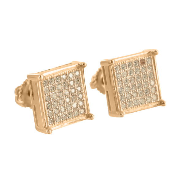Rose Gold Tone Earrings Square Design