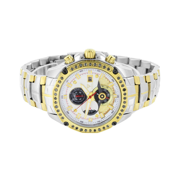 Stainless Steel Back Watch Mens 2 Tone Gold White Genuine Diamonds Aqua Master