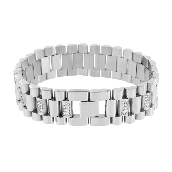 Presidential Bracelet White Gold Over Solid Stainless Steel
