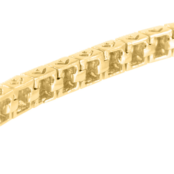 Square Link Bracelet Yellow Gold Finish 925 Silver