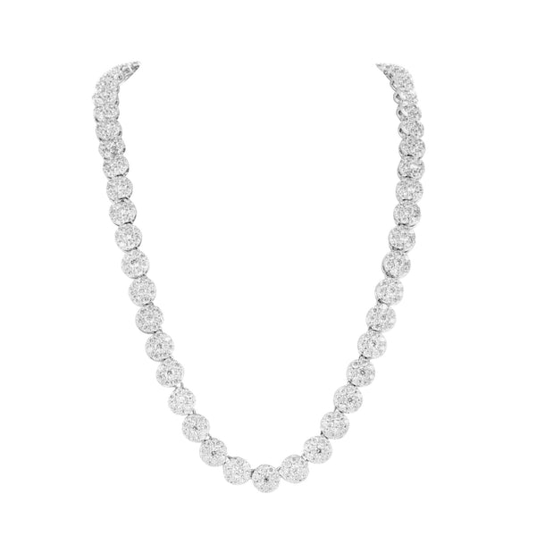 14K White Gold Finish Mens Cluster Necklace