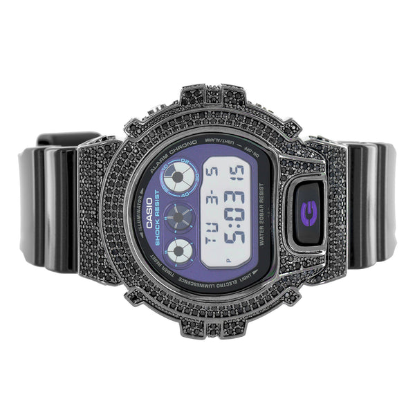 Black G Shock Watch Black Lab Diamonds Custom Bezel Digital Chrono Display