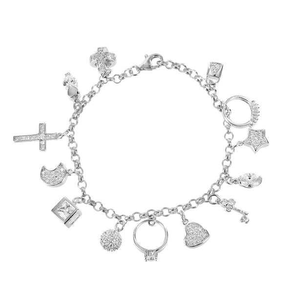 Ring Cross Charms Bracelet 925 Silver Simulated Diamonds Solitaire Key
