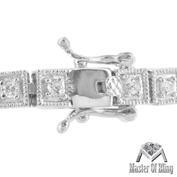 Womens 925 Silver White Gold Finish Princess Lab Diamond Tennis Bracelet