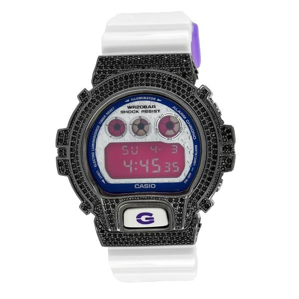 Black G-Shock Watch White Glossy Silicone Strap Digital 50 MM