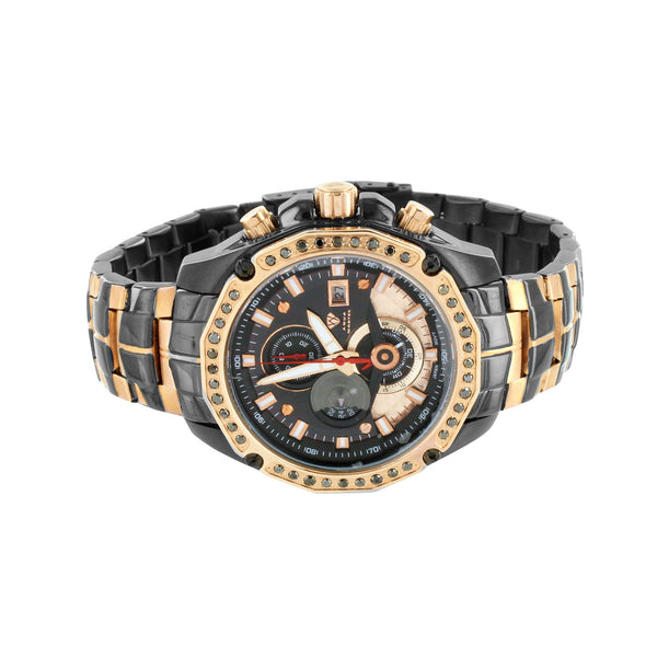 Rose & Black Watch Mens Black Diamonds 2 Tone Aqua Master Luxury Custom Edition