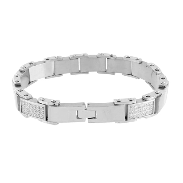 Stainless Steel Bracelet White Gold Finish Mens Simulated Diamonds