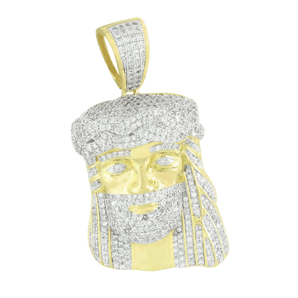 Mens Jesus Pendant Charm  Iced Out Christ 14K Gold Finish 2.1