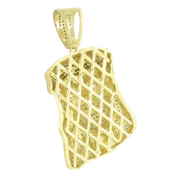 Mens Jesus Pendant Charm  Christ 14K Gold Finish 2.1
