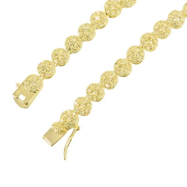 Canary Solitaire Cluster Round Link Necklace