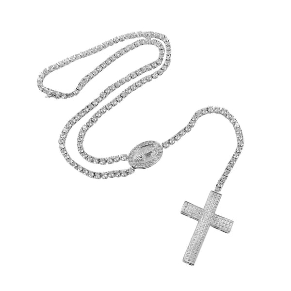 Rosary White Gold Finish Lab Diamond Necklace