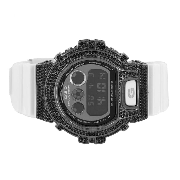 Custom Mens G-Shock DW6900NB-7DR Black Digital White Band 50mm