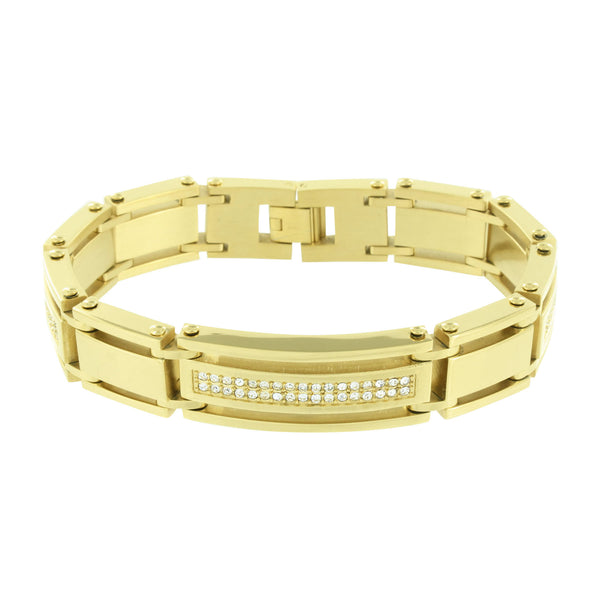 Mens Gold Finish Bracelet Stainless Steel Solid Simulated Diamonds