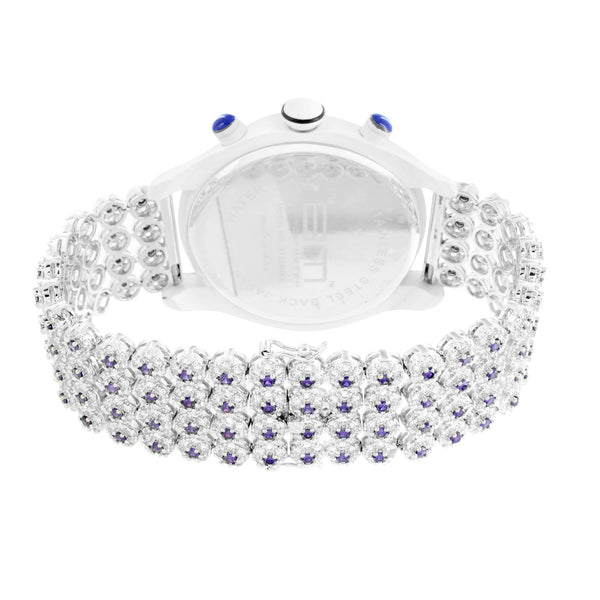 Mens White Gold Finish Simulated Diamond Tray Cluster