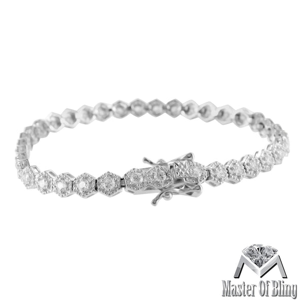 925 Silver Womens Octagon Link Lab Diamond White Finish Tennis Bracelet