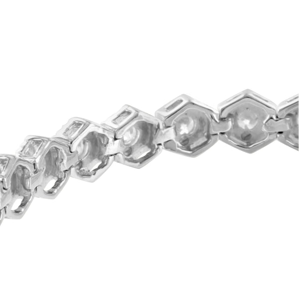 Hexagon Link 925 Sterling Silver Womens Bracelet Simulated Diamonds