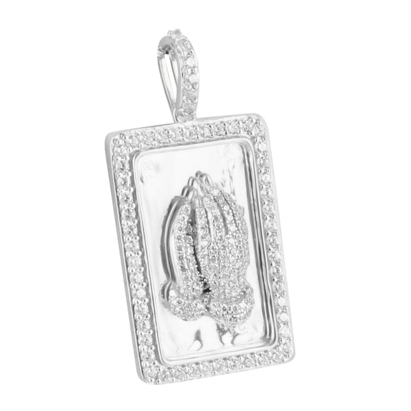 Sterling Silver Praying Hands Bar Pendant Lab Diamonds