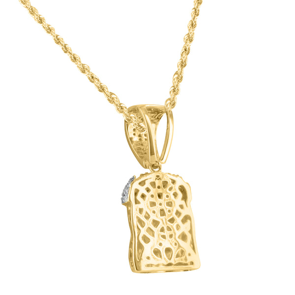 Mens Rapper Bling Iced Out Two Tone Lab Diamond Jesus Head 3D Pendant Charm Sale