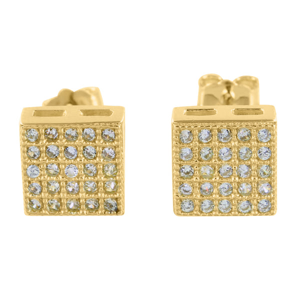 925 Silver Studs Earrings Square Yellow Gold Finish Lab Diamond