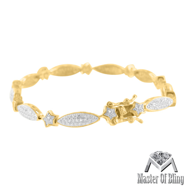 14K Gold Tone Sterling Silver Star Pear Link Ladies Lab Diamond Bracelet