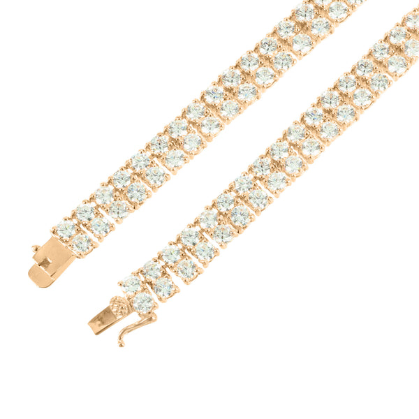 2 Row Lab Simulated Diamond Tennis Link Mens Chain