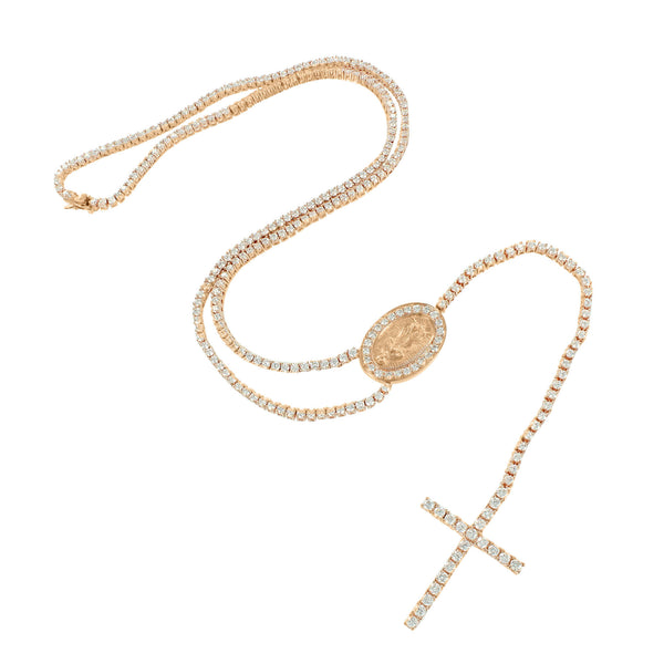Rosary Rose Gold Finish Charm Necklace Tennis Style Chain