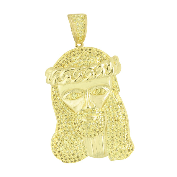 Miami Cuban Jesus Pendant Stainless Steel Box Chain Canary