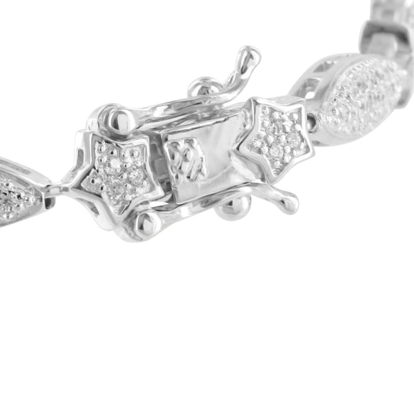 Marquise Star Link Bracelet Sterling Silver Womens Simulated Diamonds