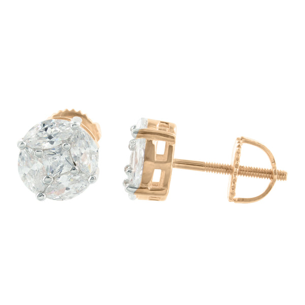 Real Silver 925 Marquise Rose Gold Tone Lab Diamond Earrings