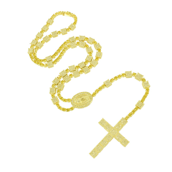 All Yellow Gold Finish Designer Canary Rosary