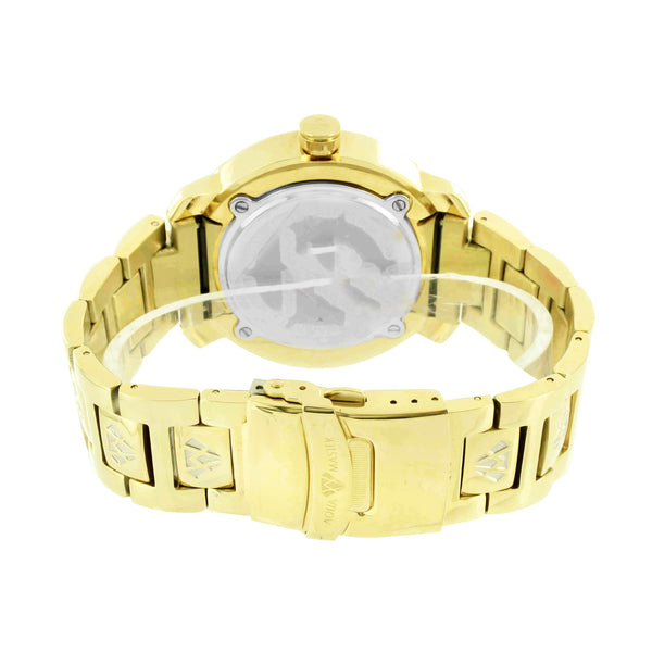Jesus Face Dial Watch 14k Gold Finish Genuine Diamond Aqua Master Water Resist