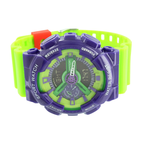 Sports Watch Shock Resistant Blue Lime Green Silicone Band