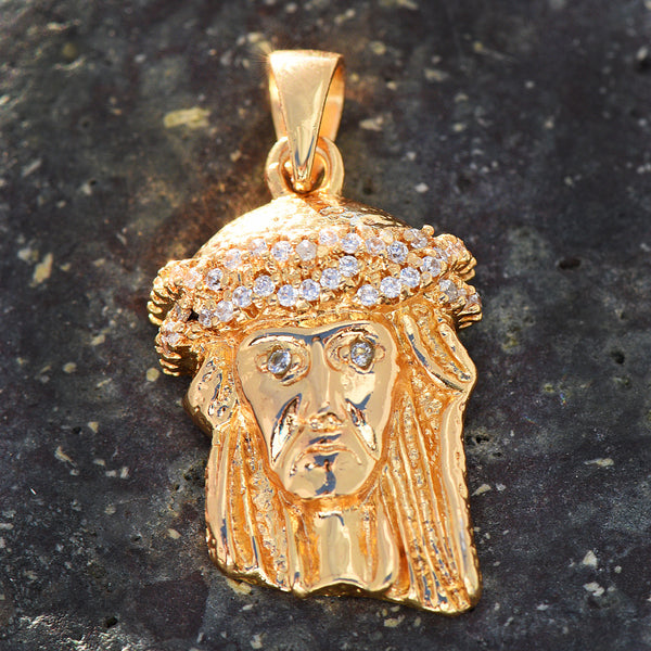 Gold Jesus Pendant 18K Finish Lab Diamonds Christ Religious