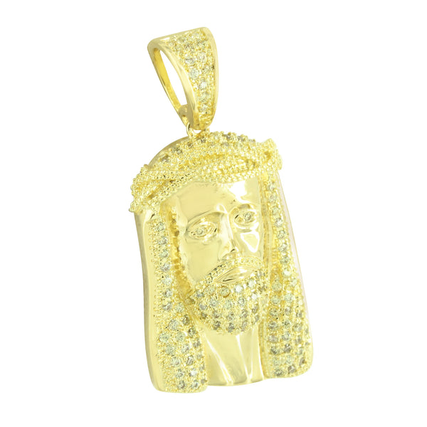Gold Finish Jesus Pendant Stainless Steel Box Chain 24 Inch